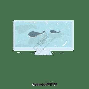 电视机显示屏海豚海洋