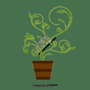 绿色植物花盆盆景
