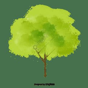 手繪風春天茂盛的樹元素