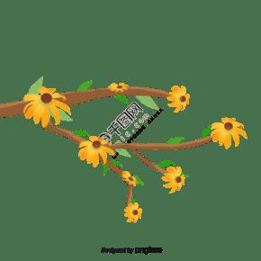 手繪植物黃色花開插畫元素