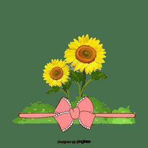 卡通插畫風春天向日葵花朵元素