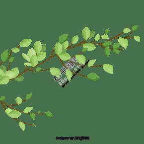 綠色手繪春季植物樹葉插畫元素