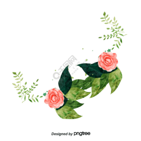 粉色春天玫瑰花植物手繪邊框