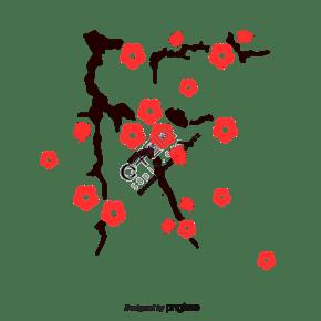 春季植物櫻花樹插畫元素