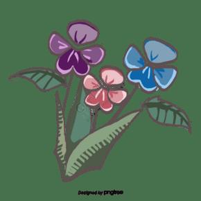 春季花朵綠色植物元素
