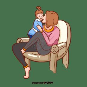 手繪卡通母親孩子親吻插畫