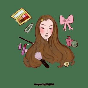 卡通女性化妆品元素设计
