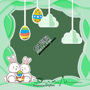 恩爱兔子复活节立体剪纸