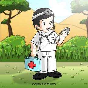 卡通医生医药箱听诊器元素