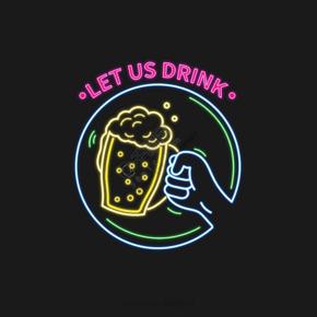 啤酒霓虹燈熒光碰杯慶祝