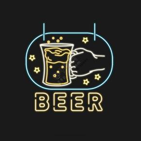 啤酒霓虹燈酒杯慶祝