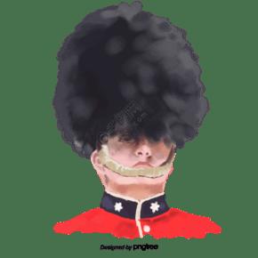 英国禁卫军卡通头像元素