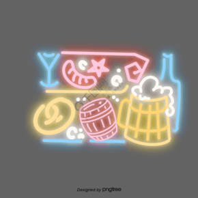 霓虹啤酒酒瓶酒桶卡通元素