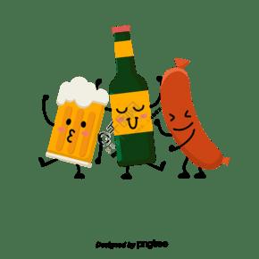 德國啤酒香腸卡通擬人組合元素