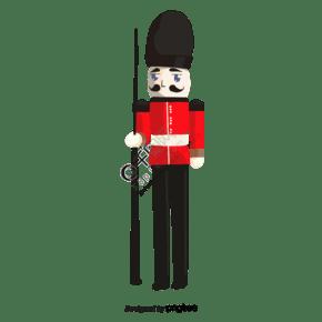 英国卡通禁卫军站岗人物元素