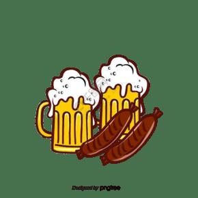 啤酒香腸組合手繪元素