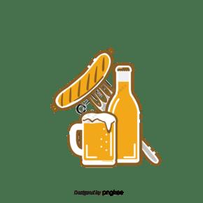 德國啤酒香腸組合手繪元素