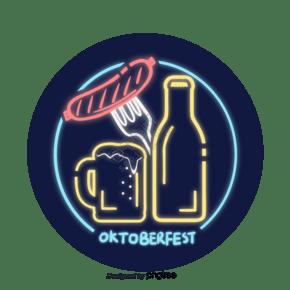 彩色霓虹啤酒香腸元素