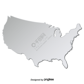立体简约银色美国地图