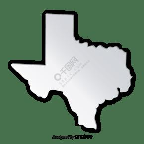 渐变立体银色质感德克萨斯州地图