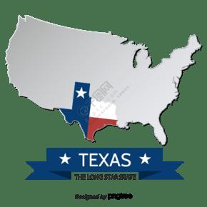 银色立体创意德克萨斯州地图
