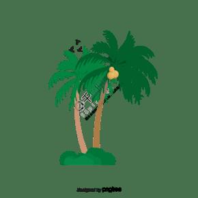 卡通綠色椰子樹
