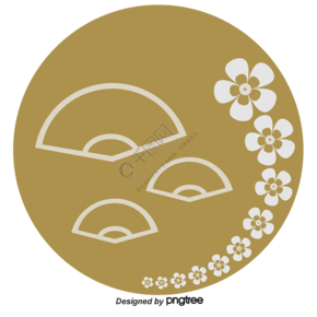 日本樱花串纸扇元素银色棕色扁平组合
