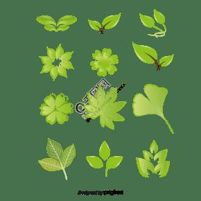 绿色树叶植物渐变色