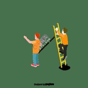 卡通人物工人爬梯子