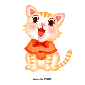 手绘开心猫咪
