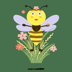 黃色扁平風春天蜜蜂采蜜插畫元素