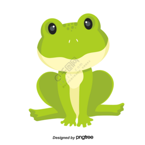 卡通风格坐姿绿色青蛙