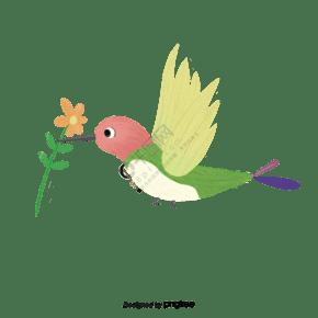 翠綠色手繪水粉翠鳥南飛插畫元素