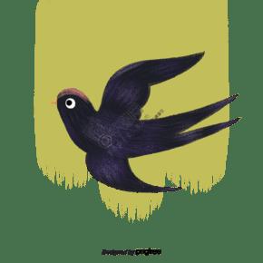 藍黑色手繪水粉燕子南飛插畫元素