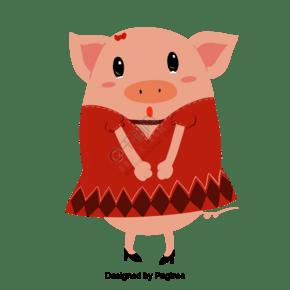 原创可爱小猪卡通形象元素插画