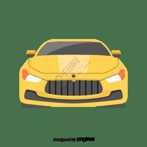 正視圖黃色卡通汽車