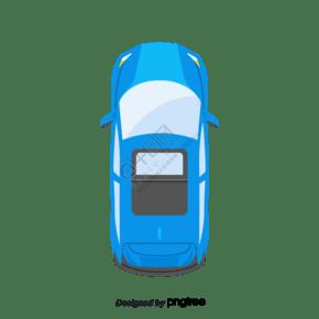 卡通俯視圖藍色轎車