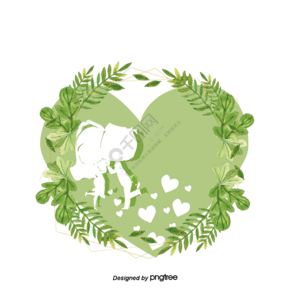 绿色花草浪漫插画日本婚礼素材