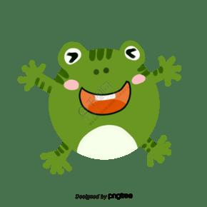 手舞足蹈球型超可爱大笑眯眼睛手绘青蛙