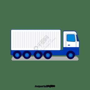 藍色手繪運輸物流大卡車