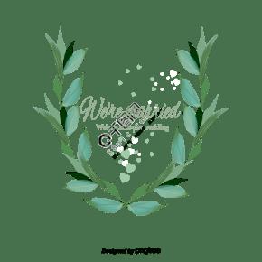 矢量婚礼素材绿色唯美