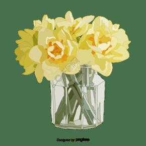 淡黄色插画风花卉鲜花瓶