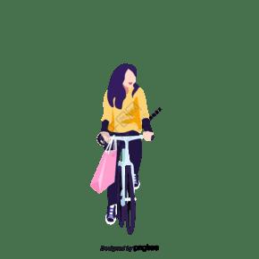 女性骑自行车购物