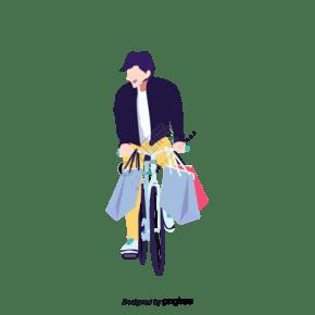 男性骑自行车购物