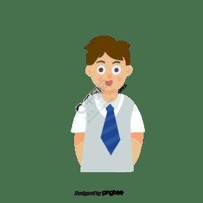 卡通男学生插画