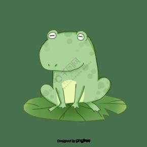 绿色简约可爱荷叶青蛙元素