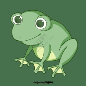 绿色简约手绘可爱青蛙元素