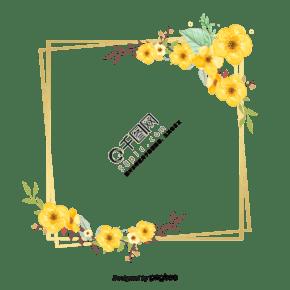 金色几何边框和水彩花朵元素