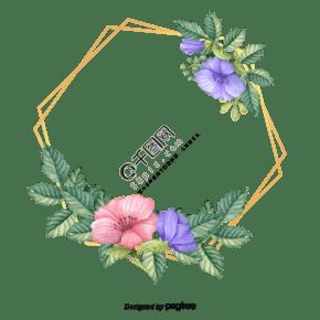 金色几何边框和水彩花朵