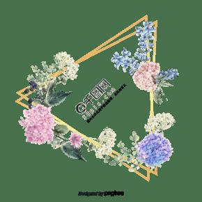 金色几何边框和彩色水彩花朵元素